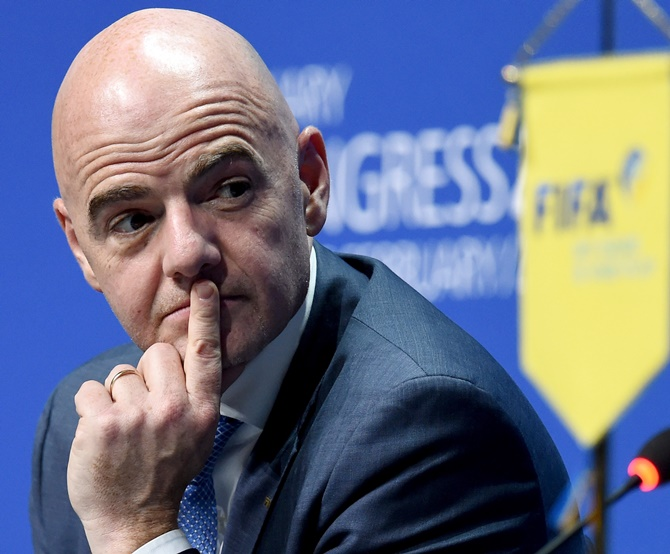 FIFA president Gianni Infantino looks on during a press conference