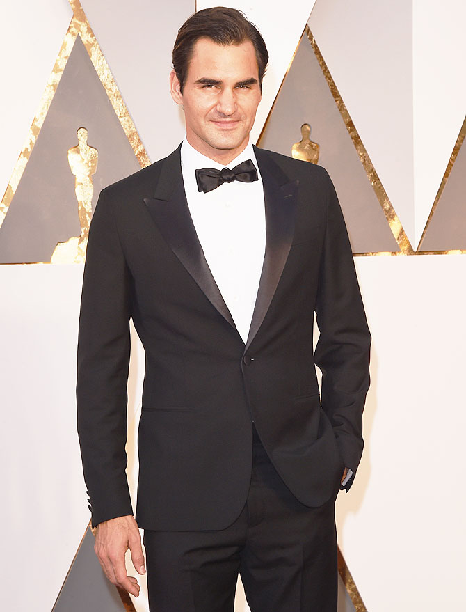 Roger Federer attends the 88th Annual Academy Awards at Hollywood & Highland Center in Hollywood, California, on Sunday