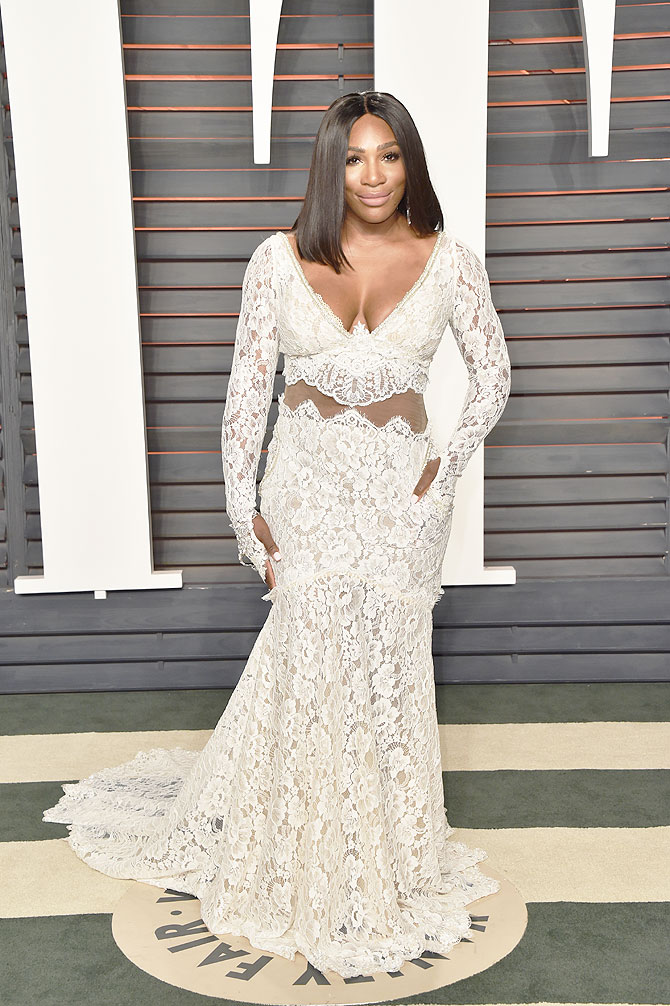 Tennis player Serena Williams attends the 2016 Vanity Fair Oscar Party hosted by Graydon Carter at the Wallis Annenberg Center for the Performing Arts in Beverly Hills, California, on Sunday