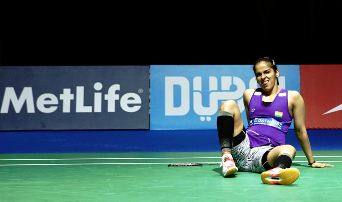 Saina Nehwal of India in action at the BWF World Superseries Finals in Dubai