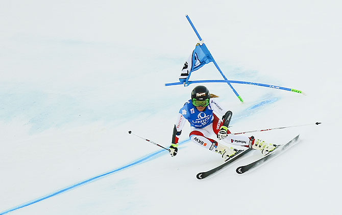 Lara Gut of Switzerland skis in the second run to win the women's giant slalom of the Alpine Skiing World Cup in Lienz, Austria, on Monday, December 28, 2015