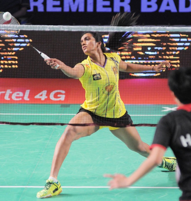 PV Sindhu during a Premier Badminton League match