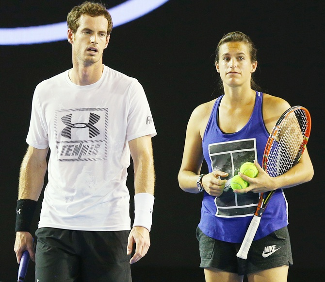 Great Britain's Andy Murray and coach Amelie Mauresmo at training