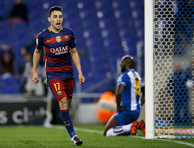 Barcelona's Munir el Haddadi celebrates scoring against Espanyol during their King's Cup match at the RCDE stadium in Barcelona on Wednesday