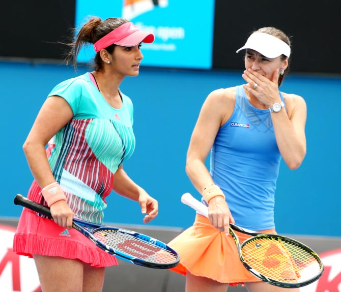 Rediff Sports - Cricket, Indian hockey, Tennis, Football, Chess, Golf - Indian Wells: Mirza-Hingis suffer shocking loss