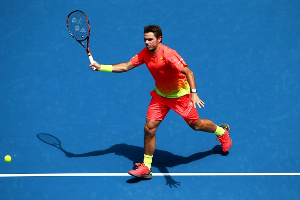 Stan Wawrinka plays a forehand in his third round match against Lukas Rosol