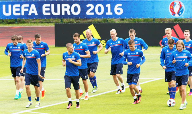 Iceland's team during a training session on Friday