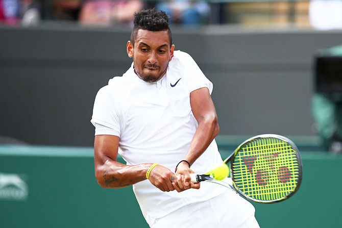 Australia's Nick Kyrgios plays a backhand during his third round match against Spain's Feliciano Lopez on Middle Sunday