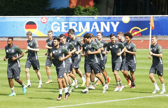 Germany's players during training session in Stade Camille Fournier, Evian-Les-Bains, in France on Tuesday