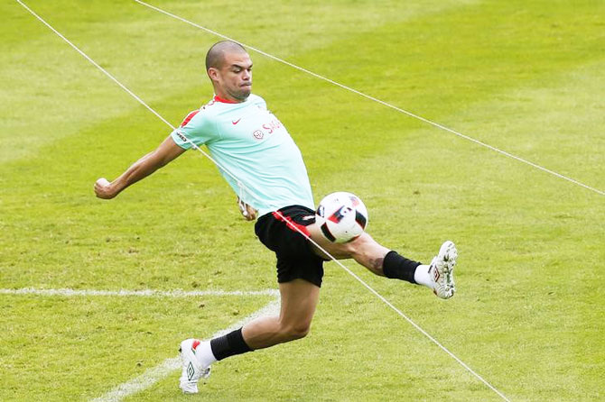 Portugal's Pepe at a training session on Sunday