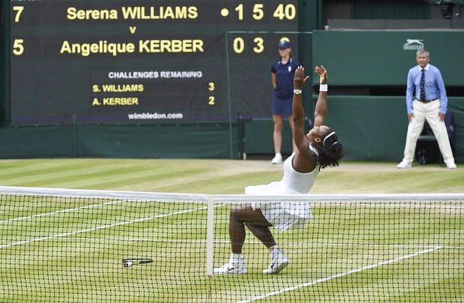 Rediff Sports - Cricket, Indian hockey, Tennis, Football, Chess, Golf - Serena avenges Aus Open loss to Kerber and equals Graf's win record