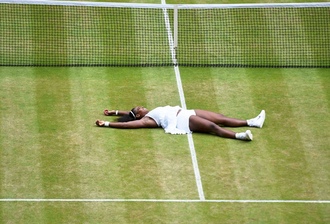 USA's Serena Williams celebrates winning her Wimbledon women's singles final match against Germany's Angelique Kerber on Saturday