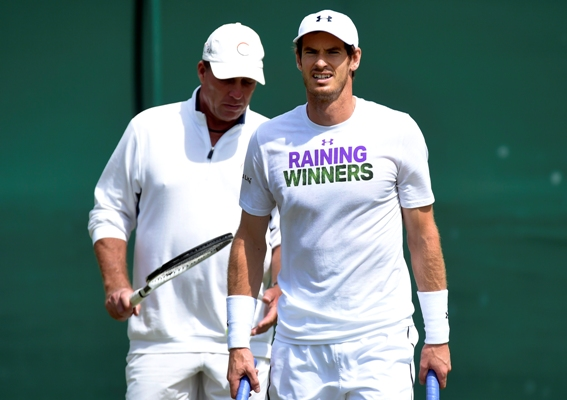 Andy  Murray with coach Ivan Lendl during a practice session