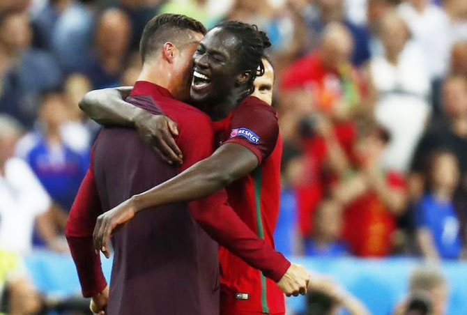 Portugal s Cristiano Ronaldo and Eder celebrate after winning Euro 2016 70117bb77dad3
