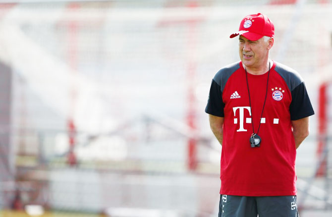 Bayern Munich's new coach Carlo Ancelotti attends first team training at Allianz Arena in Munich on Monday