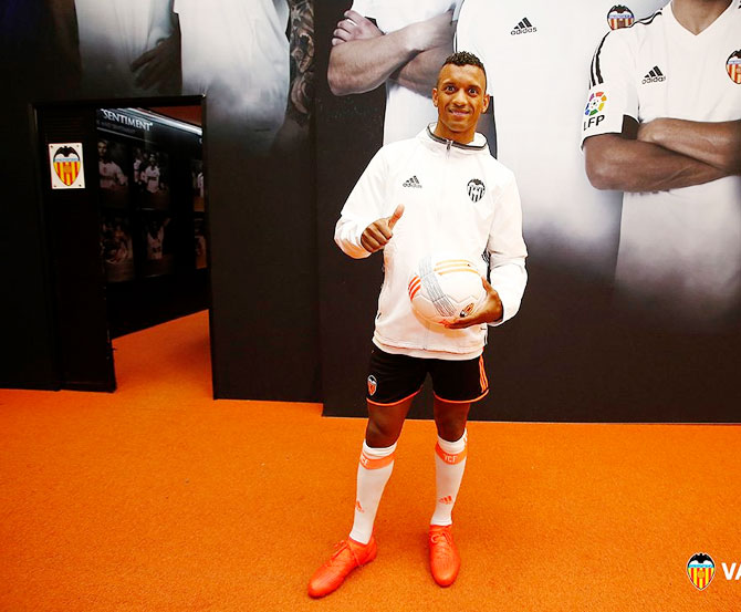 Valencia's new signing Nani after being unveiled by the club on Friday
