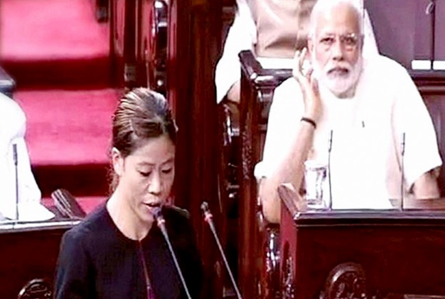 Champion boxer Mary Kom takes the oath as a member of the Rajya Sabha