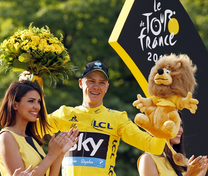 Rediff Sports - Cricket, Indian hockey, Tennis, Football, Chess, Golf - Tour de France: Froome seals great status with third title