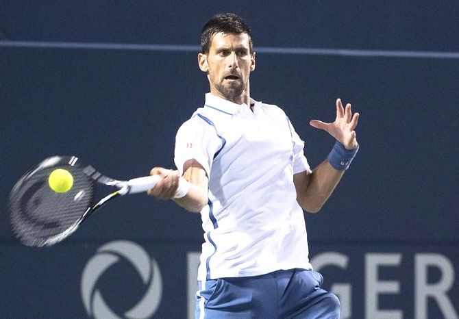 Rediff Sports - Cricket, Indian hockey, Tennis, Football, Chess, Golf - Rogers Cup: Djokovic continues Monfils mastery; Halep in final