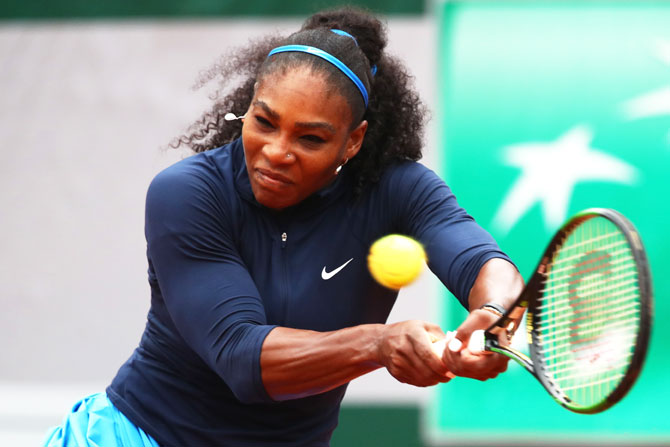 USA's Serena Williams hits a backhand during her fourth round match against Ukraine's Elina Svitolina at Roland Garros on Wednesday