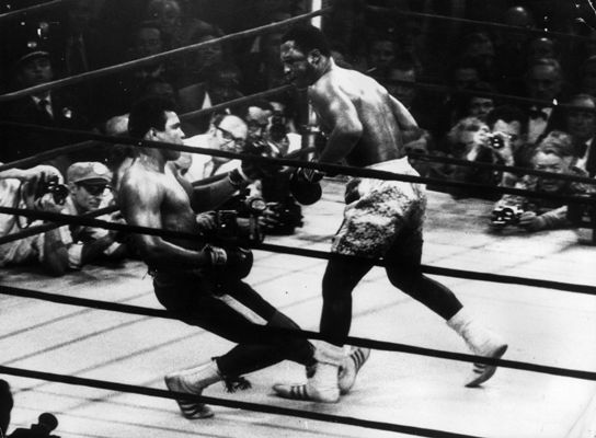 In a title fight at Madison Square Garden, New York, Muhammad Ali goes down in the 15th round to a left hook from world heavyweight champion Joe Frazier who kept the title with an unanimous points win