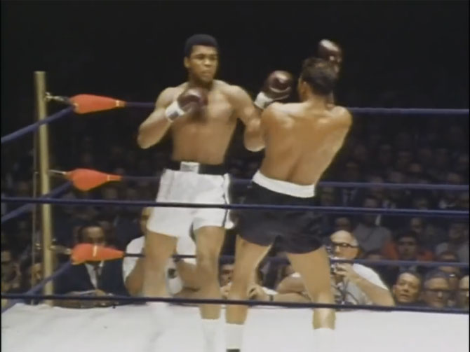 A video grab of the fight between Muhammad Ali and Cleveland Williams