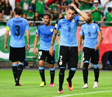 Uruguay's Jose Gimenez reacts on the field during the 2016 Copa America Centenario Group C match against the Mexico at University of Phoenix Stadium in Glendale, Arizona, on Sunday