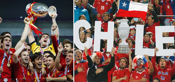 Spain's victorious team lift the Euro Championship trophy in 2012. Chile fans celebrate their team's Copa America triumph in 2015.