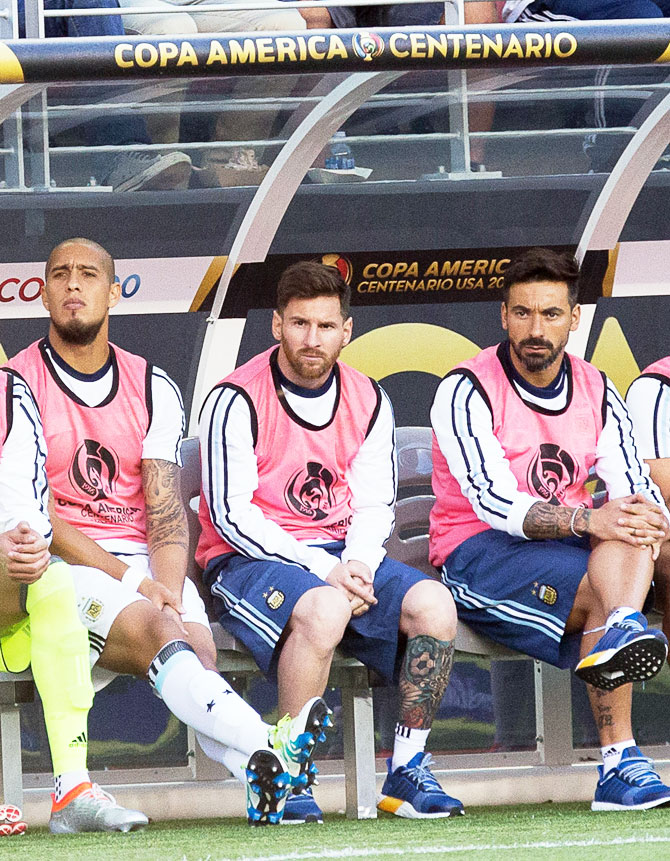 Argentina's superstar Lionel Messi on the bench against Chile during their 2016 Copa America Centenario group match at Levi's Stadium in Santa Clara, California on Monday. Messi was sidelined from the match through a back injury
