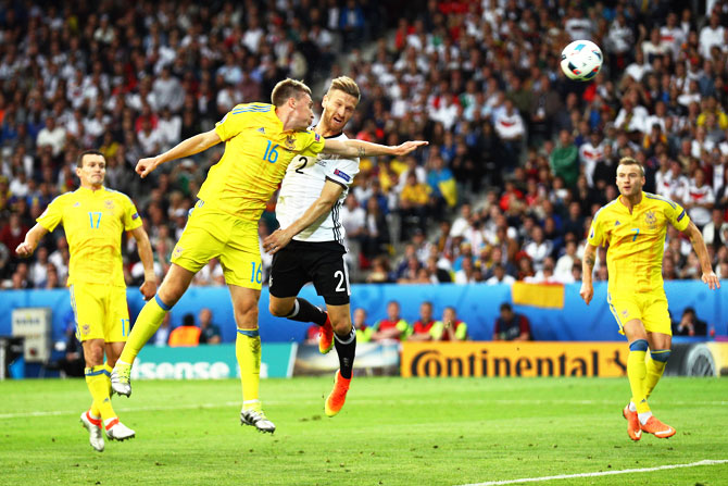 Rediff Sports - Cricket, Indian hockey, Tennis, Football, Chess, Golf - Euro 2016: Superb Germany overpower Ukraine to record 2-0 win