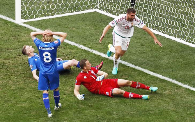 Rediff Sports - Cricket, Indian hockey, Tennis, Football, Chess, Golf - Euro 2016: Late own goal gives Hungary 1-1 draw with Iceland