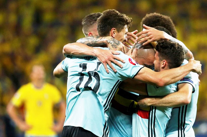 Rediff Sports - Cricket, Indian hockey, Tennis, Football, Chess, Golf - Euro: Belgium's late strike sends them through as Ibrahimovic bows out