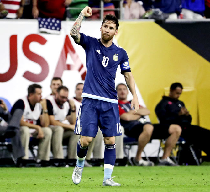 Lionel Messi celebrates after scoring a goal against the United States