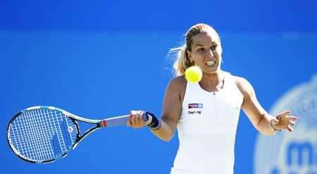 Slovakia's Dominika Cibulkova in action during the Aegon International semi-final in Devonshire Park, Eastbourne, on Saturday