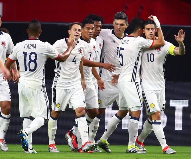 Rediff Sports - Cricket, Indian hockey, Tennis, Football, Chess, Golf - Bacca goal guides Colombia to third place in Copa America