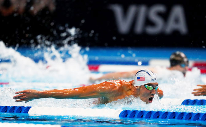 Rediff Sports - Cricket, Indian hockey, Tennis, Football, Chess, Golf - Olympic champ Phelps swims his way to Rio Games