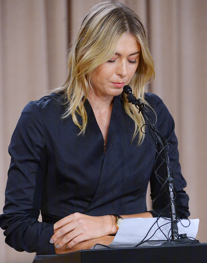 Rediff Sports - Cricket, Indian hockey, Tennis, Football, Chess, Golf - Sharapova doping hearing likely to be held in June