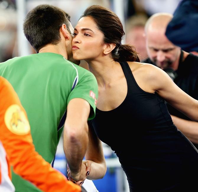Deepika Padukone with Novak Djokovic