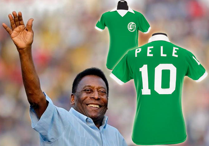 ddf5975a191 Brazilian football legend Pele and a green Umbro brand New York Cosmos football  jersey number
