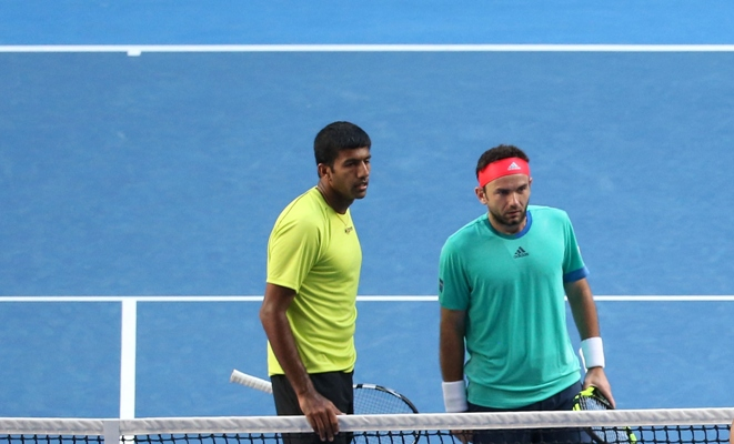 Rediff Sports - Cricket, Indian hockey, Tennis, Football, Chess, Golf - Bopanna-Mergea pair ousted from Indian Wells Masters