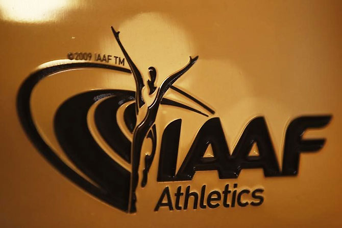 A view shows the logo at the The International Association of Athletics Federations (IAAF) headquarters in Monaco