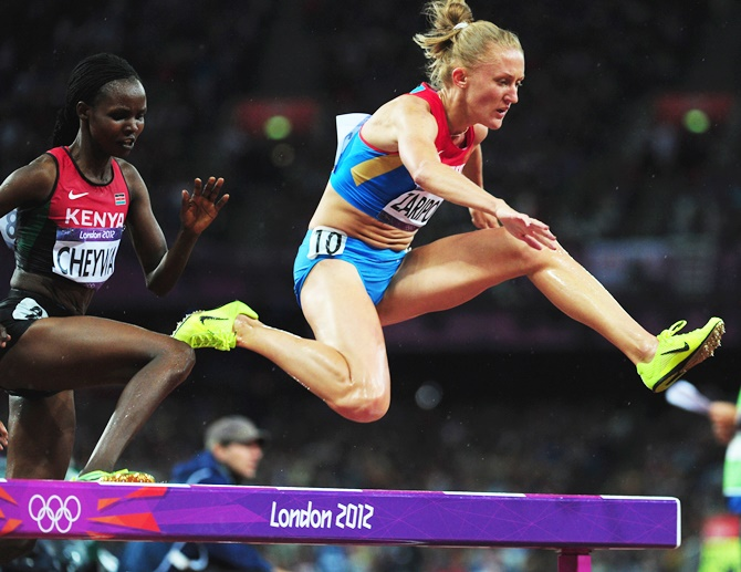Russia's Yuliya Zaripova in the Women's 3000m Steeplechase final at the 2012 London Olympics
