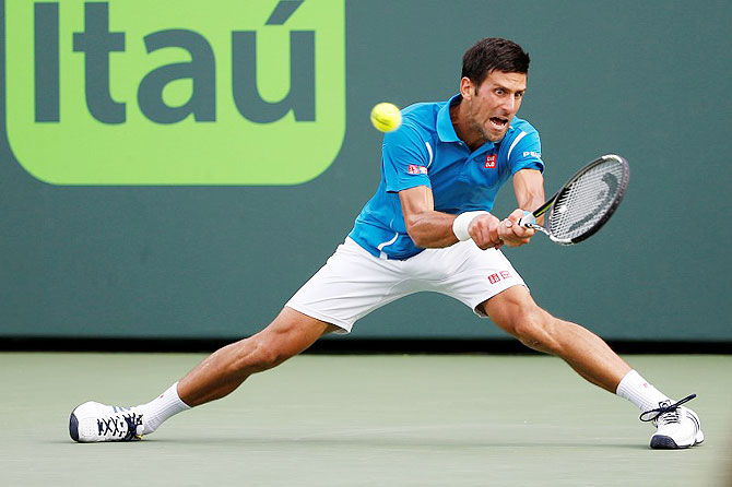 Rediff Sports - Cricket, Indian hockey, Tennis, Football, Chess, Golf - Miami Open: Djokovic moves into quarters; Halep ousted