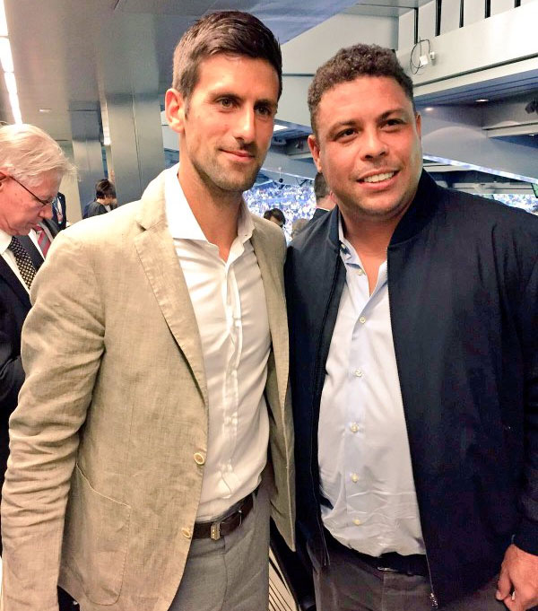 Novak Djokovic with Real Madrid and Brazil football legend Ronaldo