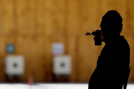 World recod holder and Olympic gold medalist Jongoh Jin of South Korea competes in the men 50m Pistol competition during the International Shooting Tournament - Aquece Rio Test Event for the Rio 2016 Olympics at the Olympic Shooting Center in Deodoro Olympic Park