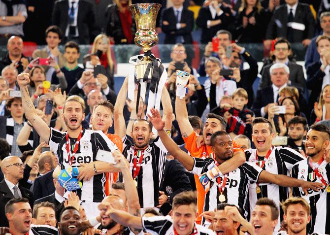 Rediff Sports - Cricket, Indian hockey, Tennis, Football, Chess, Golf - PHOTOS: Juventus win Italian Cup, complete double
