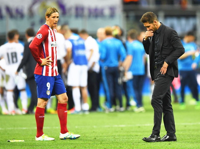 Rediff Sports - Cricket, Indian hockey, Tennis, Football, Chess, Golf - Losing two finals is a failure, says distraught Atletico coach Simeone