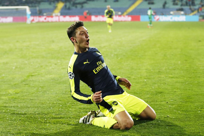 Arsenal's Mesut Ozil celebrates scoring their third and winning goal against PFC Ludogorets Razgrad during their UEFA Champions League Group Group A match at Vasil Levski National Stadium, Sofia, Bulgaria, on Tuesday