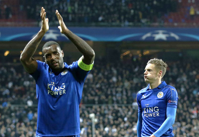 Leicester City's Wes Morgan applauds their fans with Jamie Vardy after their Champions League Group G match against FC Copenhagen at Parken Stadion, Copenhagen, Denmark, on Wednesday