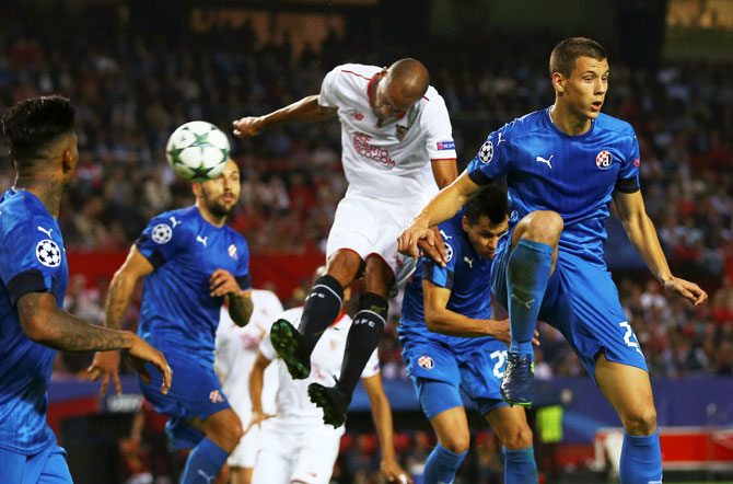 Sevilla's Steven N'Zonzi heads home to score against Dinamo Zagreb during their Champions League Group H match at Ramon Sanchez Pizjuan Stadium, in Seville on Wednesday